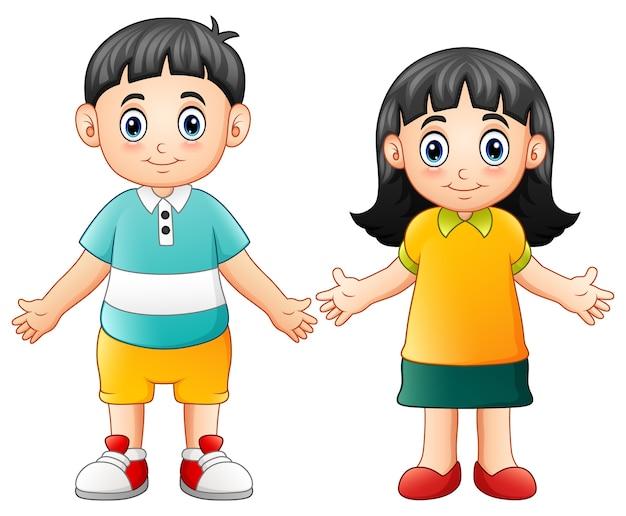 Leuke kinderen zwaaiende hand