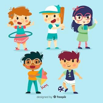 Leuke kinderkaraktercollectie in plat ontwerp