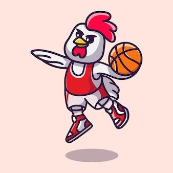 Leuke kip die basketbalillustratie speelt