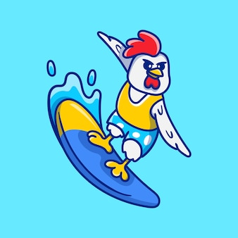 Leuke kip die surfillustratie speelt