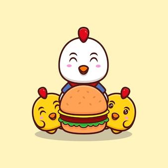 Leuke kippenfamilie en grote hamburger cartoon pictogram illustratie