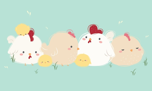 Leuke kippenfamilie in hand tekenstijl