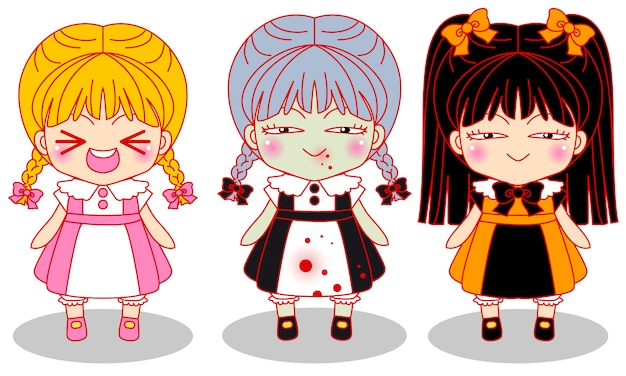 Leuke kleine griezelmeisjes