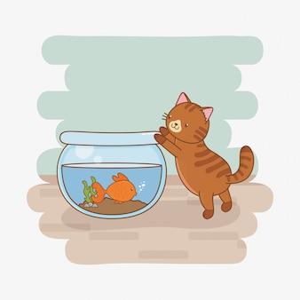 Leuke kleine kat en vissenaquariummascottes