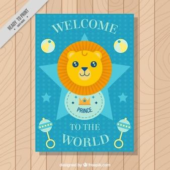 Leuke kleine leeuw kaart van de babydouche