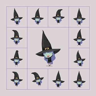 Leuke kleine meisjes met heksenkostuums
