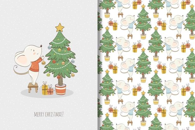 Leuke kleine muisillustratie. kerstkaart en naadloos patroon