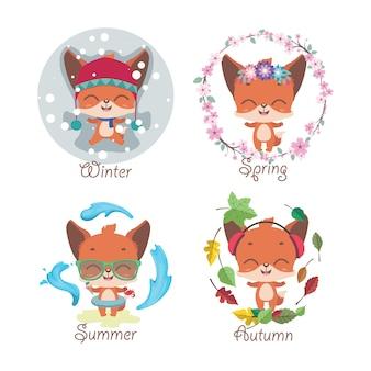 Leuke kleine vos en vier seizoenen