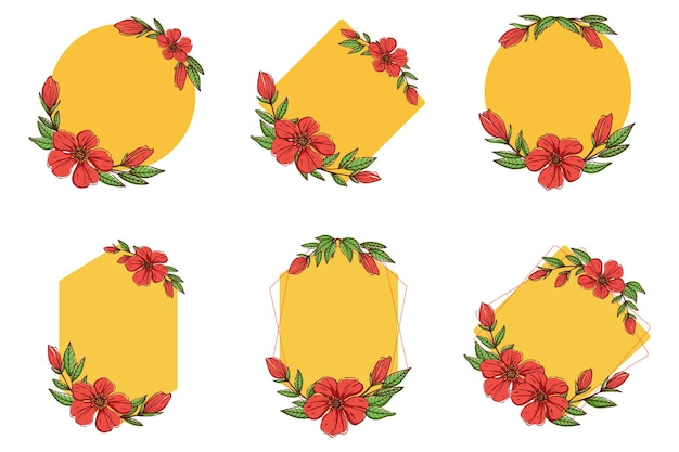 Leuke kleurrijke bloem frame-collectie met schets of hand tekenen stijl.