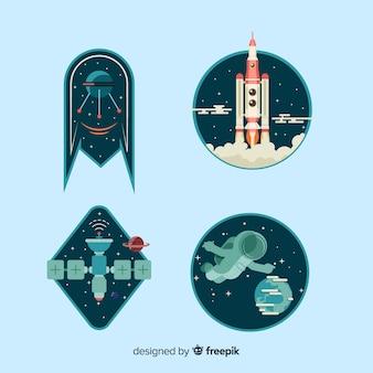 Leuke kleurrijke geplaatste ruimtestickers