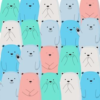 Leuke kleurrijke ijsbeer patroon achtergrond