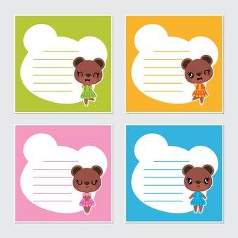 Leuke kleurrijke illustratie van het het kader de vectorbeeldverhaal van beermeisjes