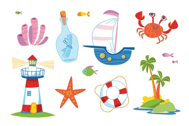Leuke kleurrijke reeks mariene elementen. schip, vuurtoren, algen, krab, onbewoond eiland, reddingsboei, fles met een bericht. voor decor clipart. kinderen cartoon grappige print. zomerreizen op watercruisekunst