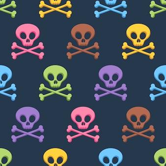 Leuke kleurrijke schedels en gekruiste knekels naadloos patroon.