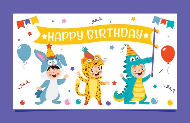 Leuke kleurrijke verjaardagskaart sjabloon