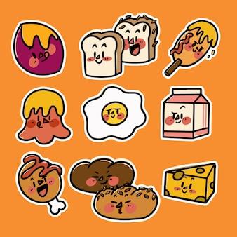 Leuke kleurrijke voedsel en snack karakter doodle bewerkbare vectorillustratie clip art collectie