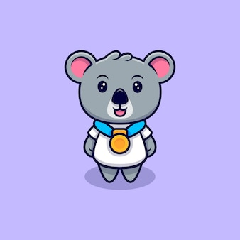 Leuke koala die een gouden medaille mascotte cartoon draagt