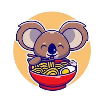 Leuke koala die ramen-noedel met de illustratie van het chopstickbeeldverhaal eten