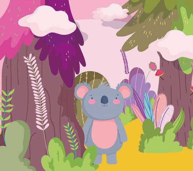 Leuke koala dierlijke cartoon karakter bos gebladerte natuur