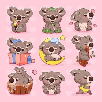 Leuke koala kawaii cartoon vector tekens instellen