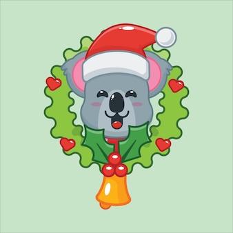 Leuke koala op eerste kerstdag leuke kerst cartoon illustratie