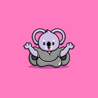 Leuke koala yoga cartoon pictogram illustratie