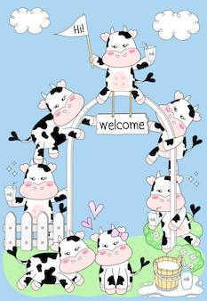 Leuke koe die op een zuivelboerderij wordt geplaatst