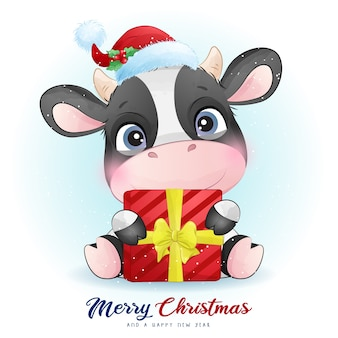 Leuke koe voor eerste kerstdag met aquarel illustratie