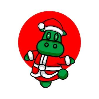 Leuke koeillustratie die het kostuumvector van de kerstman draagt