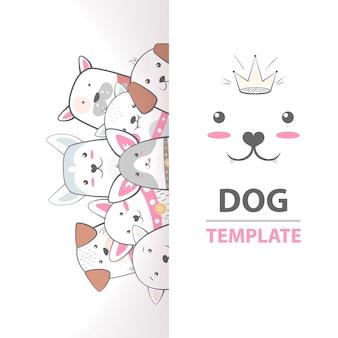 Leuke, koele, mooie, grappige, gekke, mooie hondsjabloon