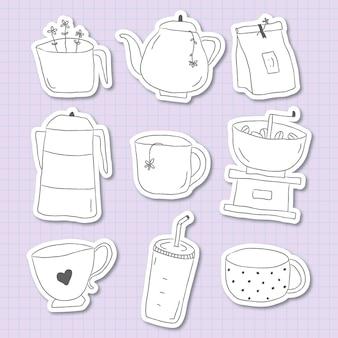 Leuke koffie doodle dagboek sticker set vector