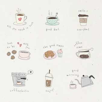 Leuke koffie doodle ontwerpelement set