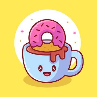 Leuke koffie en donut kat logo vector pictogram illustratie premium koffie cartoon logo in vlakke stijl