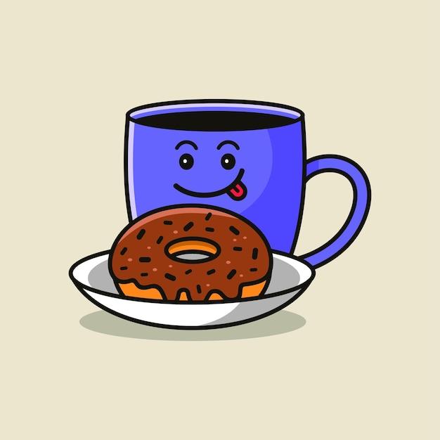 Leuke koffie in mok met chocolade donut vector cartoon afbeelding