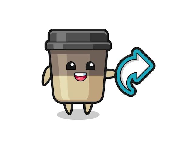Leuke koffiekop houdt sociale media symbool voor delen, schattig stijlontwerp voor t-shirt, sticker, logo-element