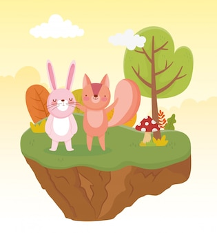 Leuke konijn en eekhoorn de aard vectorillustratie van het boomgebladerte