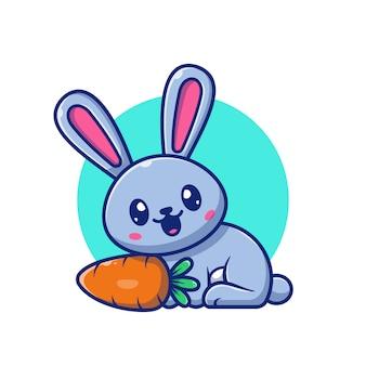 Leuke konijn en wortel pictogram illustratie. bunny logo mascotte stripfiguur. animal logo concept wit geïsoleerd