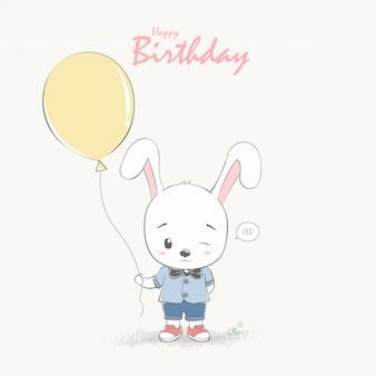 Leuke konijn jongen cartoon gelukkige verjaardag groeten en uitnodiging kaart.