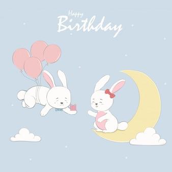 Leuke konijn jongen en meisje cartoon gelukkige verjaardag groeten en uitnodiging kaart.