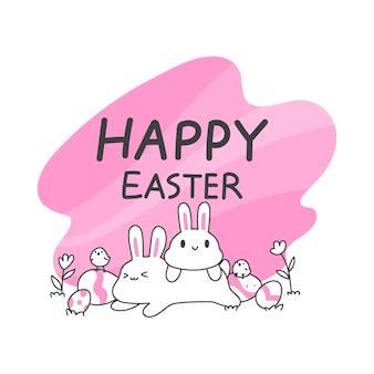 Leuke konijntje en kuikens en paaseieren, eenvoudige en schone lijn vectorillustratie