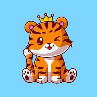 Leuke koning kat tijger zitten cartoon vectorillustratie pictogram. dierlijke natuur pictogram concept geïsoleerd premium vector. platte cartoonstijl