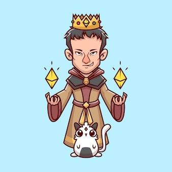 Leuke koning tovenaar met kat cartoon vector pictogram illustratie. mensen dier pictogram concept geïsoleerd premium vector. platte cartoonstijl