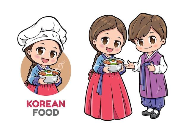 Leuke koreaanse chef-kok die een kom voedsel voorstelt