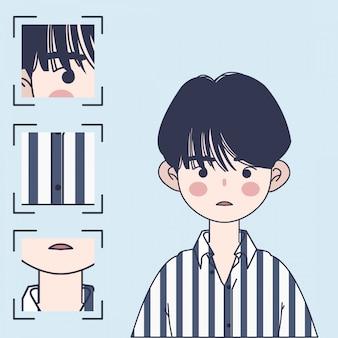 Leuke koreaanse jongen illustratie. knappe aziatische jongen illustratie.