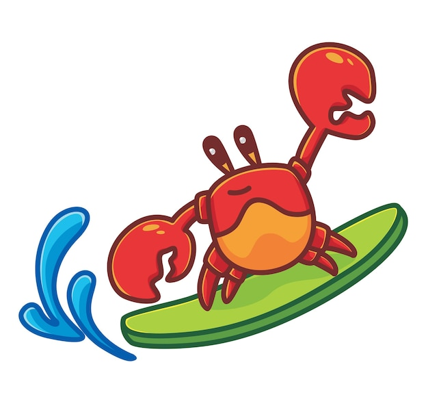 Leuke krab surfplank grote golf in het strand cartoon dier reizen vakantie vakantie zomer geïsoleerd