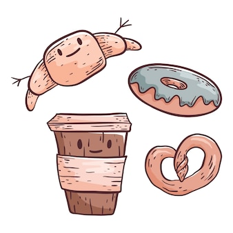 Leuke krabbelillustratie. koffie in een plastic beker en gebak