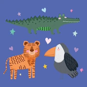 Leuke krokodil tijger en papegaai dier safari cartoon met bladeren