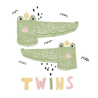 Leuke krokodillentweeling in tekenfilm