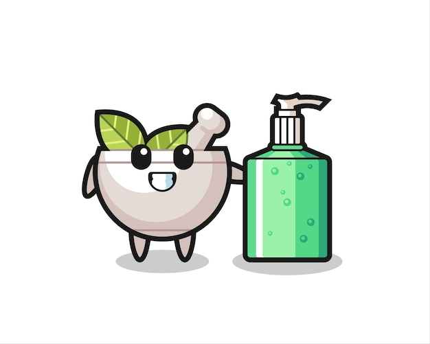 Leuke kruidenkom cartoon met handdesinfecterend middel, schattig stijlontwerp voor t-shirt, sticker, logo-element