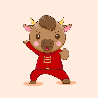 Leuke kungfu-os, gelukkig chinees nieuwjaar